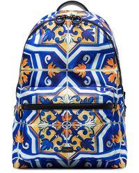 Dolce & Gabbana Maiolica Print Backpack - Blue