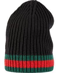 Gucci Gorro de lana con tribanda - Negro