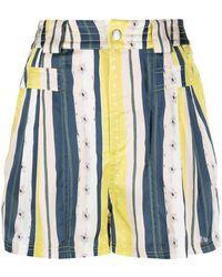 Koche Pantalones cortos a rayas con motivo floral - Azul