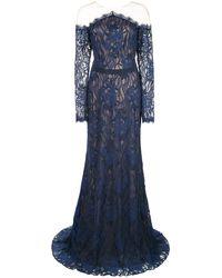 Tadashi Shoji チュールパネル レースドレス - ブルー