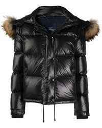 Fay Faux-fur Hood Padded Jacket - Black
