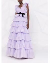 Jenny Packham Ярусное Платье Из Тюля - Пурпурный