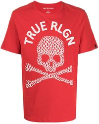 True Religion スカル プリント Tシャツ - レッド
