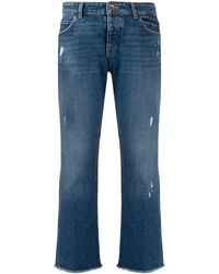 Emporio Armani Distressed Cropped Jeans - Blue