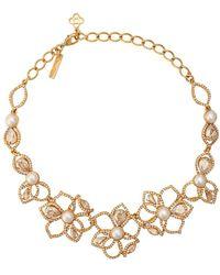 Oscar de la Renta Embellished Flower Necklace - Metallic