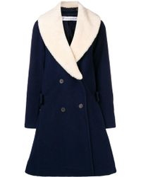 JW Anderson Swing Coat With Shearling Collar - Blue