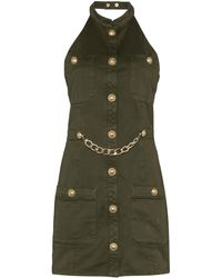 Balmain Military-style Mini Dress - Green