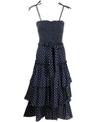 Tory Burch Smocked Polka Dot Tiered Midi Dress - Blue