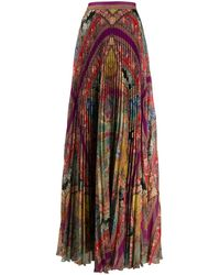 Etro Mixed Pattern Pleated Silk Skirt - Multicolor