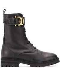 Pollini バックル ブーツ - ブラック