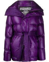 DSquared² High-shine Tie-waist Quilted Down Coat - Purple