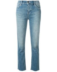 Current/Elliott - Frayed Cropped Jeans - Lyst