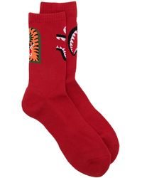 A Bathing Ape Logo-print Socks - Red