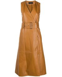JOSEPH Leather Belted Wrap Dress - Brown