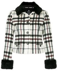 Loveless - Faux Fur Cuff Tartan Jacket - Lyst