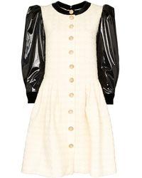 Gucci Vinyl Sleeve Flared Mini Dress - White