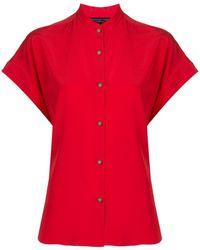 Shanghai Tang Jewel Button Silk Blouse - Red