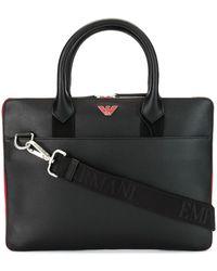 Emporio Armani Logo Plaque Briefcase - Black