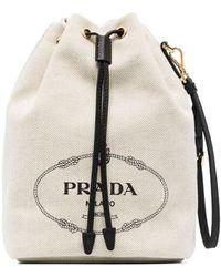 Prada ロゴ バケットバッグ - マルチカラー