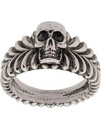 Emanuele Bicocchi Skull Engraved Ring - Металлик