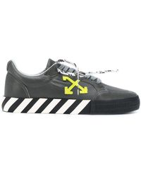 Off-White c/o Virgil Abloh - Кроссовки Vulcanized В Цвете Leather Grey & Green - Lyst