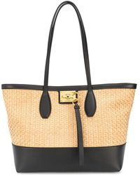 Ferragamo Studio Straw Tote Bag - Black