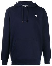 Societe Anonyme Logo Embroidered Organic Cotton Hoodie - Blue