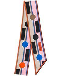 Emilio Pucci Geometric Print Silk Scarf - Orange