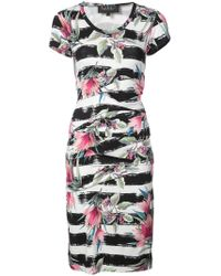 Nicole Miller - Striped Floral Printed Dress - Lyst