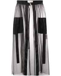 Loulou チュールオーバーレイ スカート - ブラック