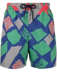 Vivienne Westwood Abstract-print Drawstring-waist Swim Shorts - Green