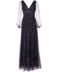 Marchesa notte Floral Evening Dress - Purple