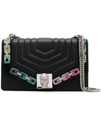 Philipp Plein Quilted Crystal-embellished Chain Shoulder Bag - Black