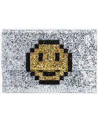Anya Hindmarch 'pixel Smiley' Clutch - Metallic