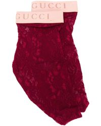 Gucci Носки Из Цветочного Кружева - Красный