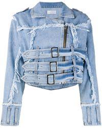 Faith Connexion Veste en jean à effet usé - Bleu