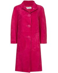 Dior Pre-owned Nubuck Single-breasted Coat - Pink