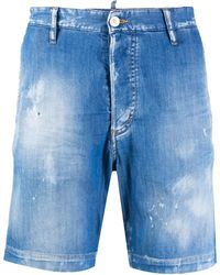 DSquared² Distressed Effect Denim Shorts - Blue