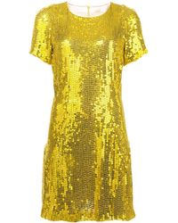 Galvan London スパンコール ドレス - イエロー