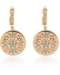 Gucci Gold and enamel Icon floral earrings - Métallisé