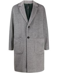 Hevò Textured Single-breasted Coat - Grey