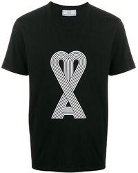 AMI ブラック ロゴ T シャツ