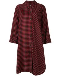 PORTSPURE Checked Shirt Midi Dress - Red
