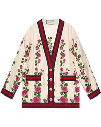 Gucci - Rose Garden Print Silk Cardigan - Lyst