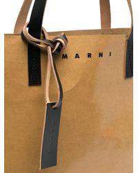 Marni Сумка-тоут С Логотипом - Коричневый