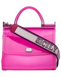 Dolce & Gabbana Roze Transparante Sicily Schoudertas Van Pvc