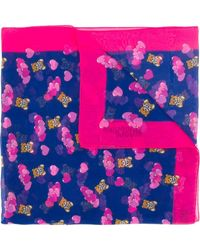 Moschino Heart Print Silk Scarf - Blue
