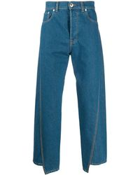Lanvin Logo Patch Asymmetric Jeans - Blue