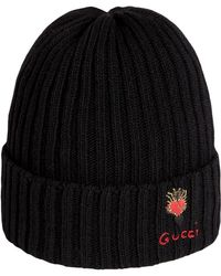 372411ee3892 Gucci - Wool Hat With Pierced Heart - Lyst