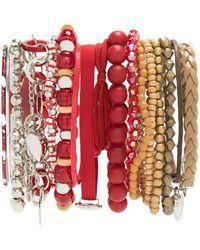 Amir Slama Bracelets Set - Red